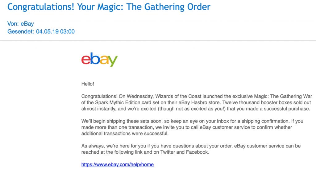 eBay-Mail mit Bestätigung