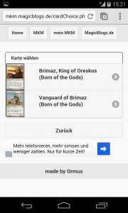 mobileMKM Kartenauswahl