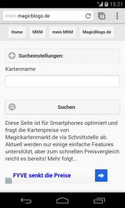 Magickartenmarkt.de mobile Suche und News